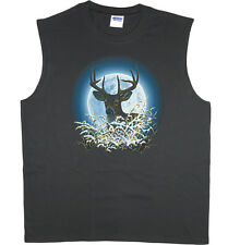 Men's sleeveless t-shirt white tail deer moon buck hunting muscle tee tank top