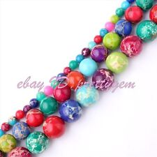 4.8.10mm Round Multicolor Imperial Jasper Gemstone Spacer Loose Beads Strand 15""