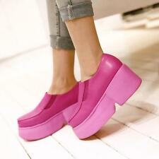 Women's Creeper  fashion sneakers high platform slip on loafers shoes plus size