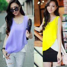 Trendy Color Blocking Sleeveless Womens Shirt Blouse Top Two Tone Asymmetric Hem