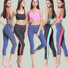 Women S-XL Athletic Gym Workout Fitness Yoga Dance Running Capri Leggings Pants