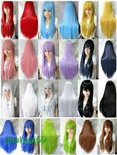 Free Shipping 80cm Long Straight Wig Costume Anime Cosplay Party Full Wigs+Gift