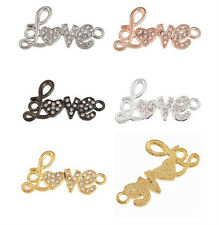 "5pc Craft""Love"" Crystal Bead Charm Jewelry Link &Connector C0979"