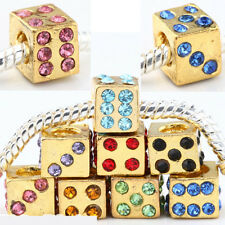 20pc Gold Plated Crystal Thread Dice Charm Bead Fit European Bracelet AC312