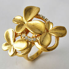 Womens 14K Gold Plated Butterfly Flower Cubic Zirconia Cocktail Ring Size 7 8 9