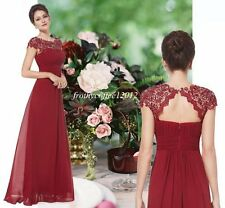 NWT KATIE CRANBERRY RED Long Maxi Prom Evening Bridesmaid Ballgown Dress 8 - 20