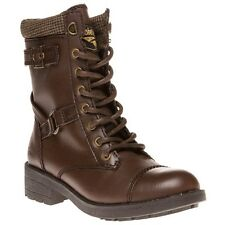 New Womens Rocket Dog Brown Thunder Synthetic Boots Ankle Lace Up