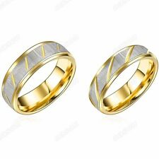 Titanium Stainless Steel 18KGP Gold Love Promise Ring Couple Wedding Band Set