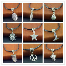 Hot Free Tibetan Silver Pendant PU Leather String Necklace 20 inch Cords Set New