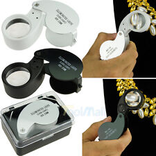 40 x 25mm LED Jewelry Glass Magnifying Magnifier Jewelry Loupe Loop LED Light