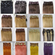 "Lot Womens Cheap Price 15""~36"" Remy Human Hair Extensions Clip In Straight Hair"