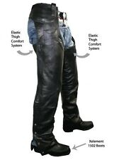 MENS BRAIDED BLACK PREMIUM LEATHER MOTORCYCLE COMFORT FIT CHAPS RETAIL $239