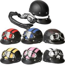 Motorcycle Bike Helmet Half Open Face Helmet 7 Color Visor UV Goggles Scarf I5D8