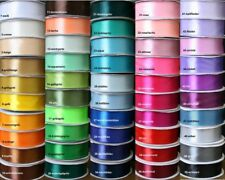 Satin Ribbon, 30 Yard-Roll, 25mm wide, SINGLE SIDED, Choice of 50 Colors