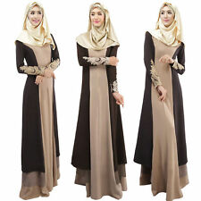 Vintage Long Sleeve Maxi Islamic Kaftan Abaya Muslim Cocktail Party Dress Coffee