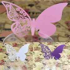 50PCS For Wedding Party Bar Decor Butterfly Place Escort Wine Glass Paper Card