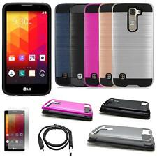 Phone Case For LG Phoenix 2 4g LTE Brush Textured Cover USB Charger Film