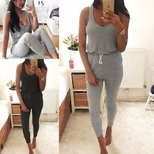 Women's Summer Vest Tops Long Pants Jumpsuit Rompers Playsuit Overalls Trousers