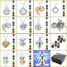 Natural 7 Chakra Gemstone Ball Open Locket Pendant Long Chain Necklace With Box