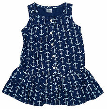 Girls Toddler Anchor Print Nautical Sleeveless Cotton Navy Dress 9 to 24 Months