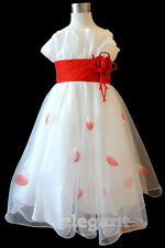 White Red Children Kids Wedding Flower Girls Party Dress Pageant Gown Age 2-13