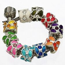 10pc Silver Plated Crystal Enamel Flower Charm Bead Fit European Bracelet AB631