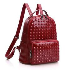 Women's Genuine Leather  Rucksack Shoulder bag backpack  Punk Rivets Knapsack