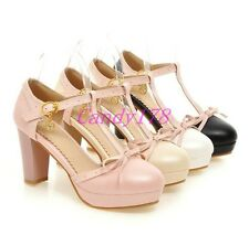 Fashion Womens Gilrs Mary Jane T-Strap Bowknot High Heels Pumps Dress Shoes Size