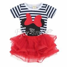 Baby Girls Kids Stripped T-Shirt Top + Skirts Dress Party Outfits Clothes Set