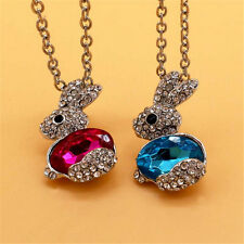1Pc Cute Rabbit Crystal Rhinestone Pendants Necklaces Clavicle Chain Jewelry