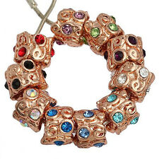 20pc Rose Gold Plated Crystal Thread Charm Bead Fit European Bracelet AC272