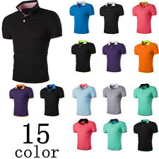 New Luxury Mens POLO Shirt Slim Fit Stylish Short Sleeve T-Shirts Casual Sports