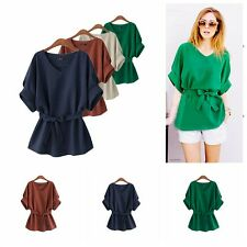 Women Soild Loose Cotton V-Neck Tops Half Sleeve T-Shirt Casual Corset Blouse