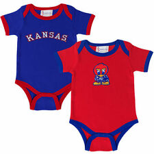 Kansas Jayhawks Two-Pack Embroidered Creeper Set - Crimson/Royal Blue