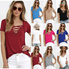 Women's Loose Shirt Blouse Pullover T Shirt Short Sleeve Cotton Tops Fashion f