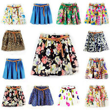 Fashion Women Colorful High Waist Pleated Floral Chiffon Cute Mini Short Skirt