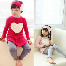 Girl Outfits T Shirt Pants Sets 3PCS Kids Baby Tops Leggings Hair Band Suits TY
