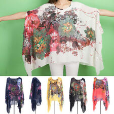 One Size Chiffon Batwing Summer Floral Ladies Shirt Casual Women Blouse Tops