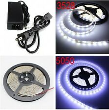 Superbright 5M SMD 3528/5050 300LEDs Flexibe LED Strip Light Power Supply DC 12V