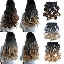 26'' Long Dyed Two Tone Ombre Hair Curly One Piece Clip In Hair Extensions Lot