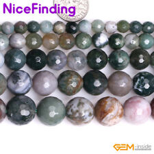 Natural Round Indian Agate Facted Beads Lot For Jewelry Making Gemstone In Bulk