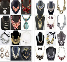 New Arrival Charm Chunky Crystal Statement Bib Chain Pendant Necklace Jewelry