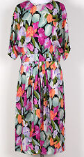 MAGGY LONDON by Jeannene Booher Vintage Floral 90's Garden Silk Dress Sz - 14