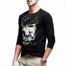 New Mens Casual T-Shirt Crewneck Long Sleeve Skull Printed Black Tee M L XL XXL