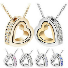 Fashion Womens Heart Crystal Pendant Chain Necklace Silver Plated Jewelry CHI