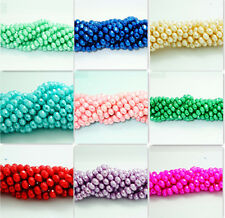 40pcs new Faceted Rondelle  Pearl Crystal Glass Loose Spacer Beads 8x6mm