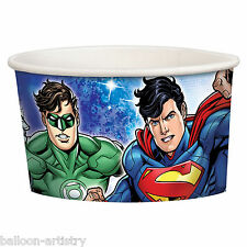 8 DC Comics JUSTICE LEAGUE Children's Birthday Party Ice Cream Treat Cups Bowls