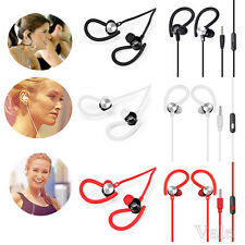 3.5mm In Ear Clip On Mic Headphone Running Sport Music Stereo Headset Earphone
