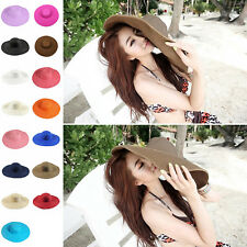 Fashion Womens Wide Large Brim Folding Summer Sun Floppy Hat Straw Beach Cap