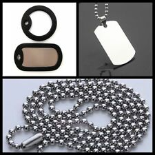 Men's Silver Plain Dog Tag Stainless Steel Pendant Free Chain Necklace Silencers